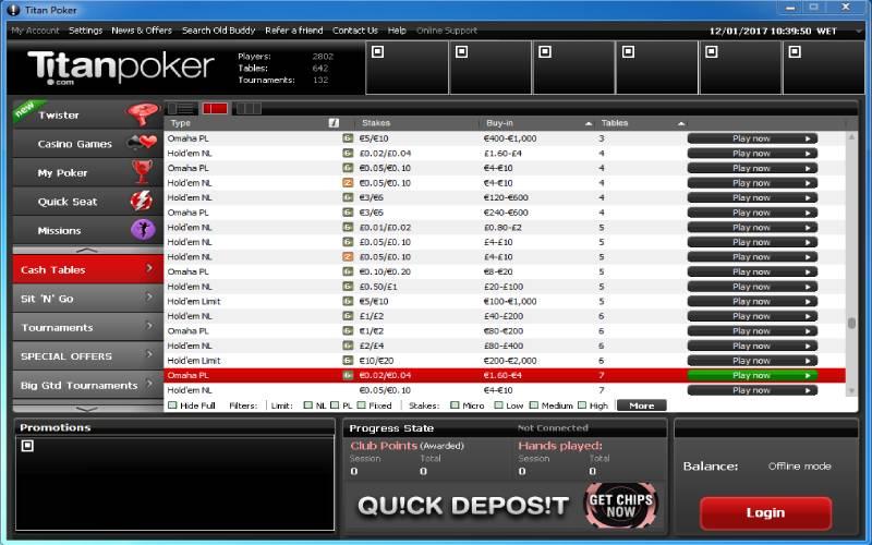 Titan Poker кэш-игры